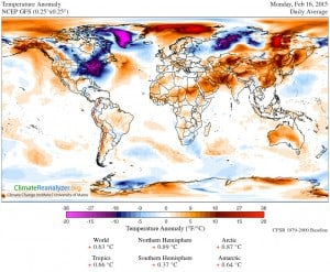 Temperature anomoly showing cold NE North America on Feb. 16, 2015